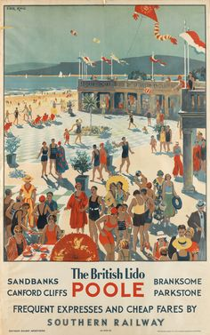 The British Lido - Southern Railway - 1935 - (Cecil King) - British Travel, British Seaside, Travel Uk, Train Posters, Railway Posters, Tourism Poster, Southern Railways, Retro Illustration, Advertising Poster