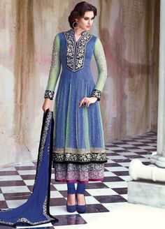 Pastel Blue and Green Layered Anarkali