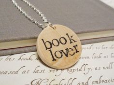 Hand Stamped Book Lover Necklace by Bookish Charm