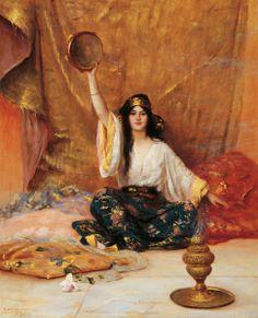 Pierre Bellet - Femme au tambourin @@@.....http://www.pinterest.com/marit0704/orientalist-paintings/
