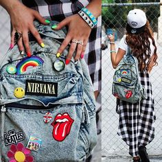 Imagen vía We Heart It https://weheartit.com/entry/174099213/via/28921165 #backpack #bands #checkered #cute #girl #hair #Hot #longhair #nails #outfits #patches #squad #tounge #tumbler #swag #lookalike #rainbownails #coolkid #instagram #thatlife
