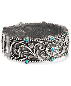 Montana Silversmiths Floral & Faux Turquoise Bracelet