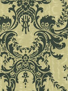 Blue and Tan Damask Wallpaper | AmericanBlinds.com