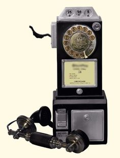Payphone Replica Black Retro Vintage Wall Telephone Rotary Dial Antique Old Gift #PayphoneReplicaBlack