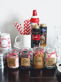 Hot Chocolate Bar + Printables - - With the cooler weather upon us and family in town the week of Thanksgiving, I thought it would be fun to create a Hot Chocolate Bar during their visit. My kids and I love hot chocolate, so this wa…. Hot Chocolate Party, Cocoa Party, Christmas Hot Chocolate, Hot Chocolate Recipes, Hot Chocolate Recipe With Chocolate Bar, Crock Pot Hot Chocolate Recipe, Chocolate Gifts, Holiday Treats, Christmas Treats