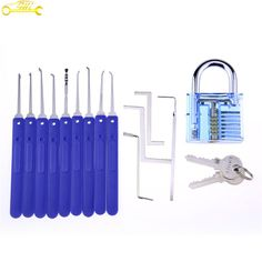 blue cover lock pick set with blue transparent padlock high quality 9 pcs practice lock pick set with 4 tension tools    #locked #locks #lock #locker #locking #locksmith #locksmiths #locksmithlife #locksmithing #locksmithbar #locksmithmonkey #locksmithproblems #locksmithpresident #locksmithtools #locksmithskills #lockpick #lockpicking #lockpicks