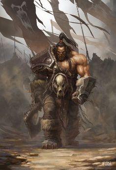 "Grommash ""Grom"" Hellscream - Illustration by Da-Yu | Fan art - World of Warcraft - Fantasy Character Concept Mag'har Orc Chieftain Warrior Fighter Gladiator Blademaster Horde"