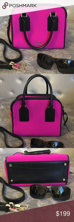 ♠️ RARE Esta St. Irina neoprene kate spade in EUC! From the 2015 spring runway collection. There are very few of these neoprene (laptop material) bags out there and rarely in this pristine condition with no flaws! Features goldtone hardware and detachable crossbody strap. kate spade Bags Satchels