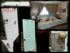 Old wood door with skeleton key lock re-vamped into an awesome headboard.