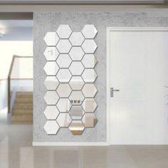 Three-dimensional hexagonal 7 Piece Wall Decoration Acrylic Mirrored Decorative Sticker Room Decoration DIY Wall Art Home Decor - free shipping worldwide