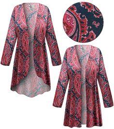 1X//2X//3X New Blue Navy Lace Long Jacket Cardigan Duster Kimono Top Sweater 4X