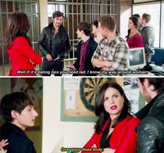 """Regina and Hook - 5 * 5 """"Dream Catcher"""" - """"Over your dead body."""" - Note the """"your."""" Regina knows who is going to die in that scenario, and it won't be her. :)"""