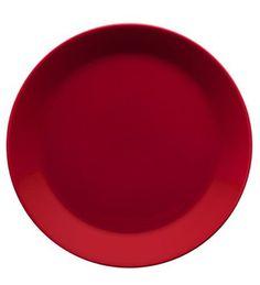 Teemalautanen punainen 17 cm 7,50 e ja kaksi tämmöistä lautasta jos saisi.