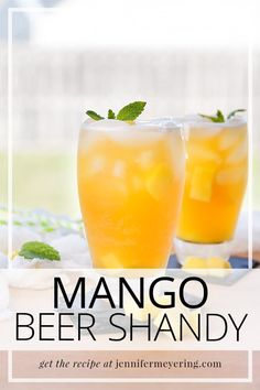 Easy beer shandy made with your favorite wheat beer, a splash of tequila, and some mango nectar.