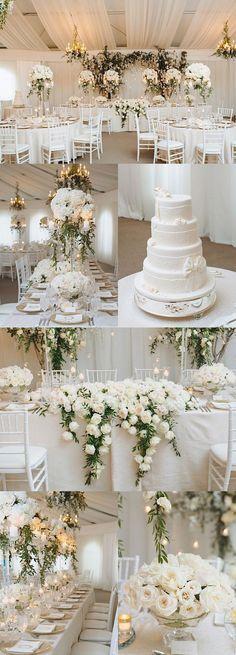 Elegant white wedding reception idea; photo: Mango Studios