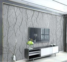 European Embossed Grey Wallpaper Birch Tree Home Decor Forest Wall Paper For Living Room(China) Grey Wallpaper Living Room, Accent Walls In Living Room, Accent Wall Bedroom, Modern Wallpaper, Living Room Grey, Living Room Sofa, Wall Wallpaper, Living Room Decor, Wallpaper Ideas
