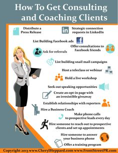 How to Get Clients Info infographic by Cheryl Heppard More