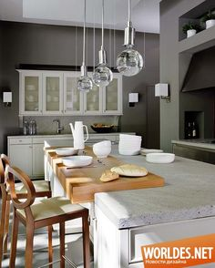 Like The Chopping Block Insert Beautiful Kitchen With Concrete Countertops A Wood Area For Dining On Island