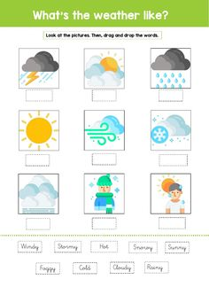 Weather Worksheets, Weather Activities, Kindergarten Math Worksheets, Interactive Activities, Weather Like Today, Esl, Weather Calendar, Weather Vocabulary, English Grammar Worksheets