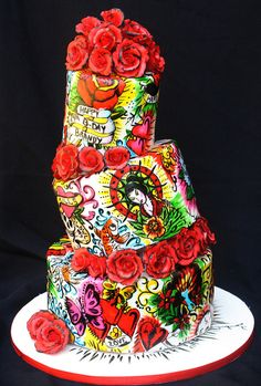 HAND PAINTED Ed Hardy cake.  wow.