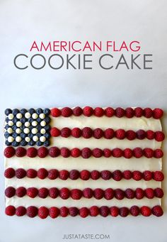 American Flag Cookie Cake | 27 Glorious Blueberry Recipes For Summer