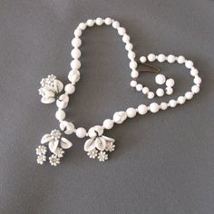 1940s Milk Glass Flower Necklace with Rhinestone Centers Bridal
