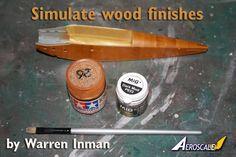 Simulated wood grain finish.