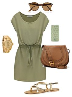 A fashion look from September 2015 featuring Dorothy Perkins sandals, Chloé shoulder bags ve Rolex watches. Browse and shop related looks. Casual Outfits, Summer Outfits, Cute Outfits, Fashion Outfits, Womens Fashion, Fashion Tips, Green Outfits, Summer Dresses, Mode Style