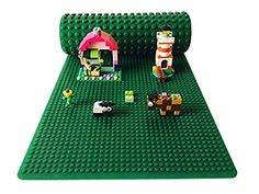 """Icellent Green Silicone Brick Building Play Mat, 12"""" x 32"""" Double Sided Base plate Mat, Rollable and Flexible, Compatible with leading brand blocks for Activity Tables"""