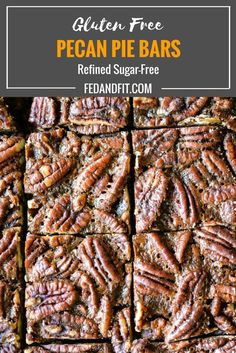 These pecan pie bars are gluten and refined sugar-free and combine traditional pecan pie filling with a buttery shortbread crust. They are perfect to impress your guests this holiday season! Sugar Free Pecan Pie, Gluten Free Pecan Pie, Gluten Free Stuffing, Gluten Free Sweets, Healthy Christmas Recipes, Healthy Living Recipes, Pecan Pie Filling, Pecan Pie Bars, Paleo Dessert