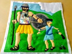 Learn how to make this fun and interactive quiet book felt page with a step-by-step tutorial. Children can shoot a rock at Goliath with an elastic sling.
