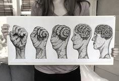 Metamorphosis Drawing - Brain vs Brawn Pointillism by @sketchability on Instagram 50+ hours of dots