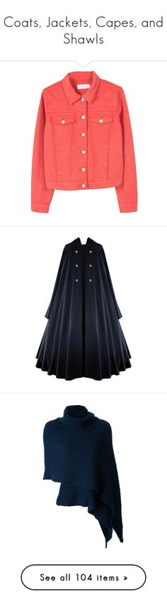 """""""Coats, Jackets, Capes, and Shawls"""" by daughter-of-apollo92 ❤ liked on Polyvore featuring outerwear, jackets, colored denim jackets, mango jackets, red jacket, costumes, cloak, gothic lolita costume, gothic halloween costumes and steampunk halloween costume"""