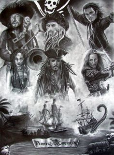 Pirates of the Caribbean by nobodysghost on DeviantArt Pirate Art, Pirate Life, Captain Jack Sparrow, Tattoo Pirate, Film Pirates, Fantasy Movies, Pirates Of The Caribbean, Disney Art, Art Drawings