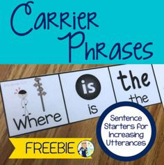 Carrier Phrases for Increasing Utterances - Sentence Starters with Visuals FREE Speech Therapy Activities, Speech Language Pathology, Speech And Language, Grammar Activities, Language Activities, Kindergarten Writing, Teaching Reading, Teaching Vocabulary, Aphasia Therapy