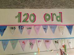 120 ord i bevægelse:   Læg alle de 120 ord i en kurv.   Børnene går sammen to og to og tager hver fem ord og et sjippetorv med sig ud.   De...