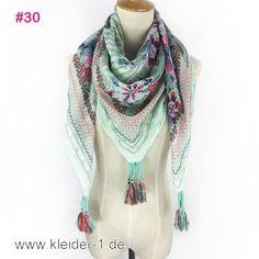 Damen Schal 110x100cm in Weiss und Türkis