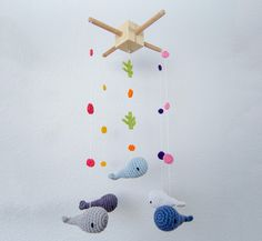 Whales Crochet Mobile  Baby Mobile  Nursery by OneandTwoOriginals, $75.00