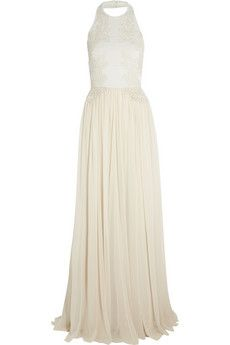 Elie Saab Guipure lace-appliquéd stretch-knit and silk-chiffon gown | NET-A-PORTER