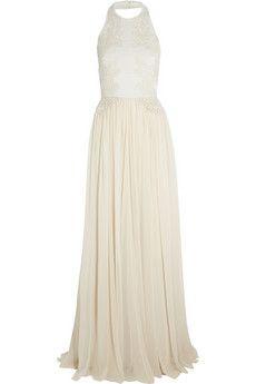 Elie Saab Guipure lace-appliquéd stretch-knit and silk-chiffon gown   NET-A-PORTER