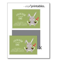 Bunny Rabbit Woodland Party Invitation for kids by BonjourBerry