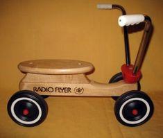 Vintage Radio Flyer Wooden Scooter Genuine Maple 4 Wheel Small ...