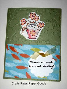 Thank you card for pet sitter - dog or cat  On my Etsy shop, $3.00
