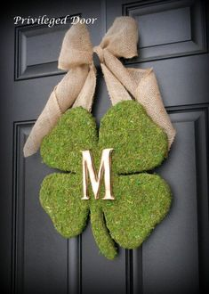 29096f3b8ae6e Moss Covered Shamrock Wreath with Woodfired Monogram Letter   Burlap Bow. Diy  St Patricks Day ...