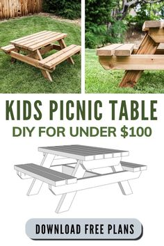 Follow along this step by step guide with free woodworking plans and a video tutorial on how to build a kids picnic table for under $100 with 2x4s! #backyard #DIY #woodworking #plans Kids Picnic Table Plans, Diy Picnic Table, Wooden Picnic Tables, Outdoor Picnic Tables, Indoor Picnic, Diy Table, Outdoor Decor, Diy Projects Using Wood, Build A Table