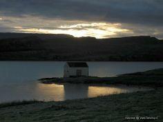 Sunset slowly proceeding to sunrise, close to midsummer, near Egilsstadir, Iceland