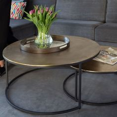 Salontafel Tarifa S/2   Atmooz 2 Coffee Tables, Coffee Table Design, Home Living, Kitchen Living, Living Room Inspiration, Furniture Inspiration, Mirror Buffet, Breakfast Bar Table, Round Side Table