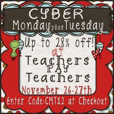 Teacher Mom of 3: Mega Cyber Monday {and Tuesday} Sale!!  Get your coupon code!