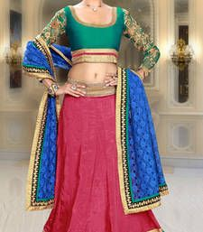 Buy Pink embroidered silk lehenga choli lehenga-choli online