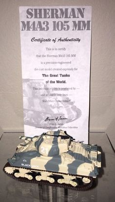 ***#SOLD*** Check out our other great items at e_babyji Matchbox Collectibles Sherman M4A3 105 MM Tank DYM37585 NIB COA #Matchbox #Sherman